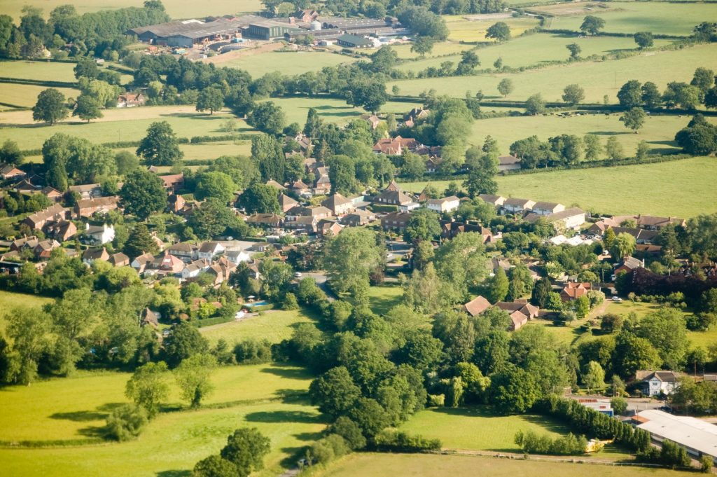 Aerial view of the Surrey village of Charlwood near Gatwick Airport