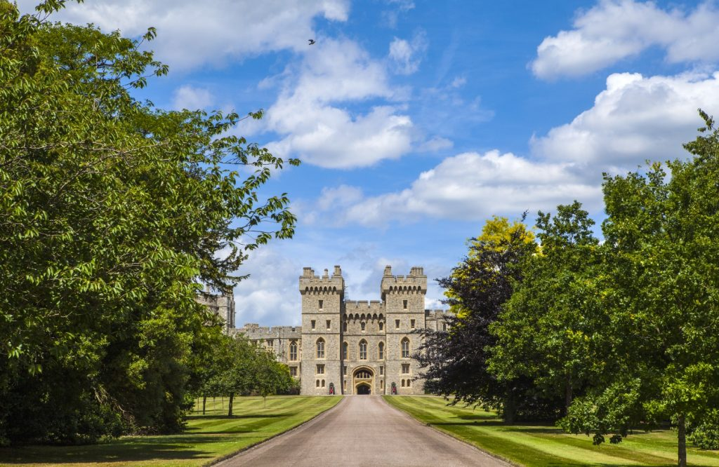 View of the entrance to Windsor Castle in Berkshire, England.